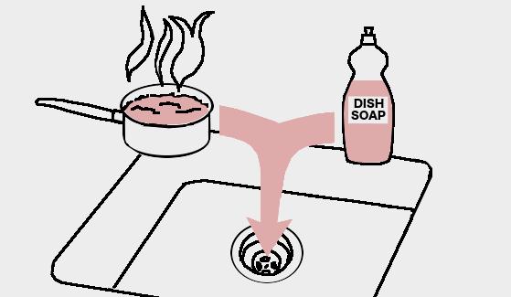 Unclog a drain using liquid dish detergent