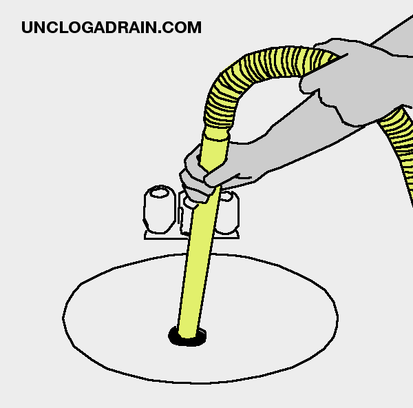 Unclog a drain with wet vacuum - insert nozzle into drain