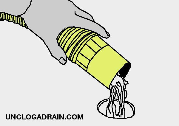 Unclog a drain with wet vacuum - pull the clog out of the drain